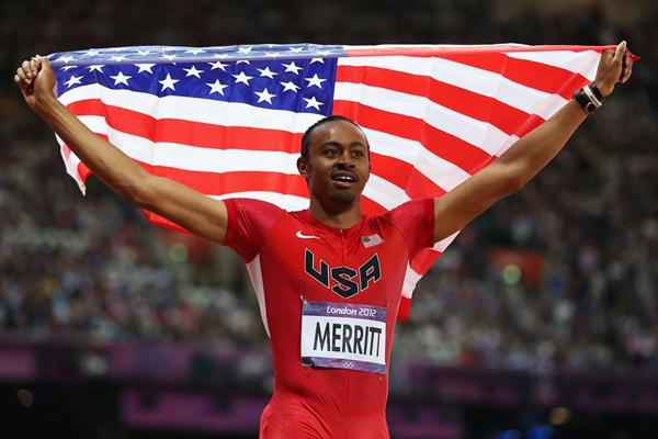 Aries Merritt of the United States celebrates after winning gold in the Men's 110m Hurdles Final on Day 12 of the London 2012 Olympic Games (Getty Images)