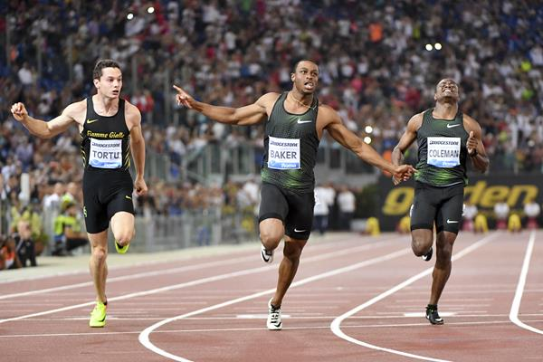 Ronnie Baker takes the Rome 100m showdown (Hasse Sjogren)