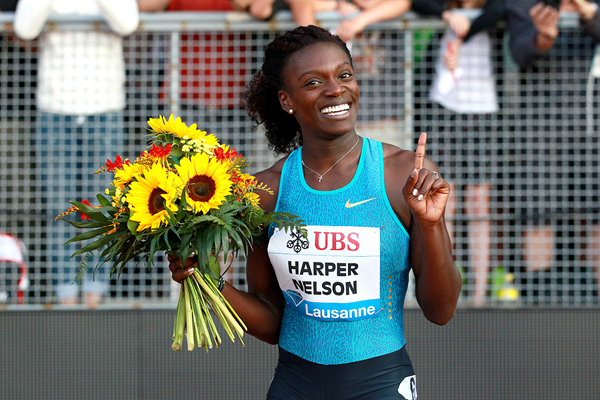 Dawn Harper Nelson after winning the 100m hurdles at the IAAF Diamond League meeting in Lausanne (Victah Sailer)