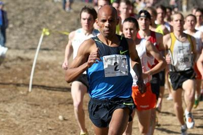 Meb Keflezighi en route to the US cross country title (Victah Sailer)