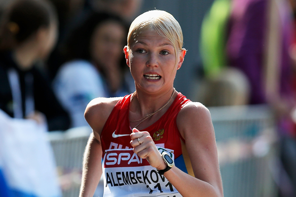 Russia's Elmira Alembekova, winner of the 20km race walk (Getty Images)