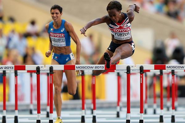 Tiffany Porter in the womens 100m Hurdles at the IAAF World Athletics Championships Moscow 2013 (Getty Images)