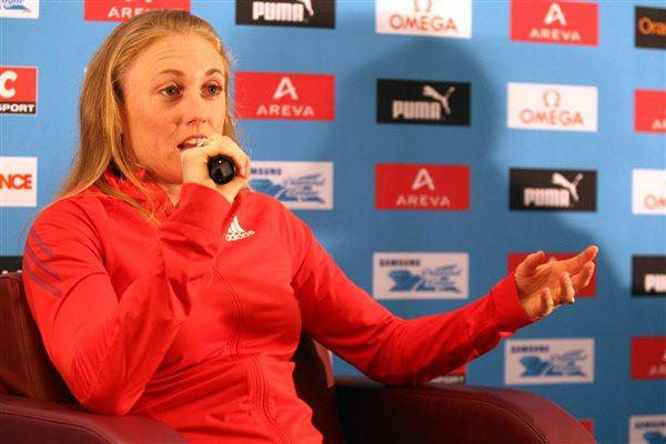 Sally Pearson at the pre-meeting press conference in Paris (Jean-Pierre Durand)