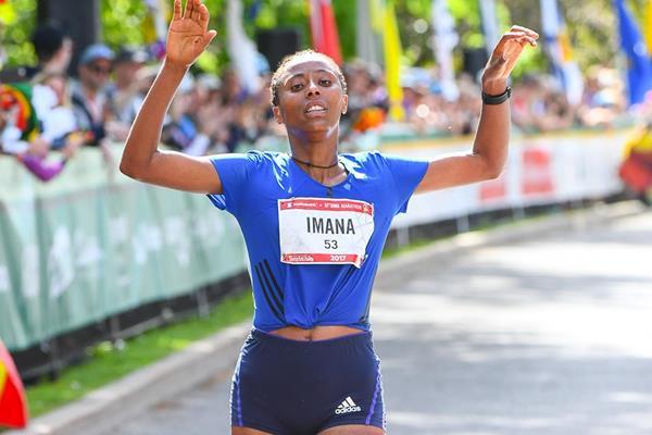 Guteni Shone Imana winning the 2017 Ottawa Marathon (Bruce Wodder (PhotoRun)/organisers)