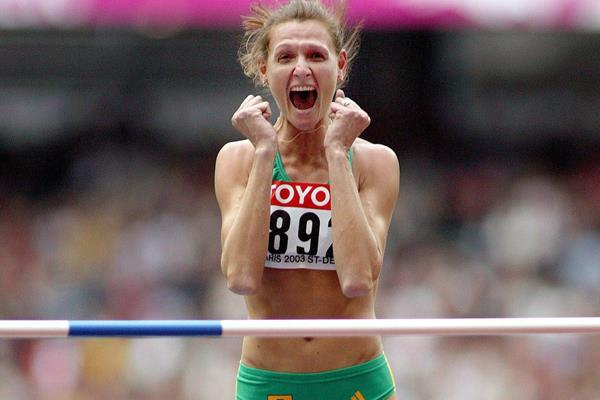 Hestrie Cloete Els after winning the 2003 world high jump title (Getty Images)