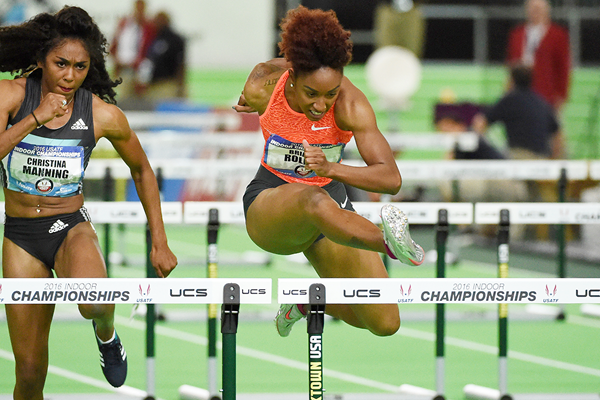 Brianna Rollins on her way to victory in the 60m hurdles at the US Indoor Championships (Kirby Lee)