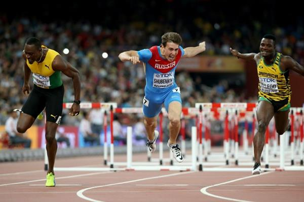 Sergey Shubenkov wins the 110m hurdles at the IAAF World Championships, Beijing 2015 (Getty Images)