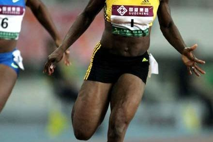 Veronica Campbell-Brown wins the 100m in Shanghai, 20 Sep 2008 (Getty Images)