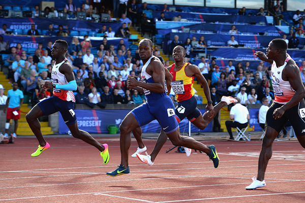 Reece Prescod (far left) wins the 100m at the British Championships (Getty Images)