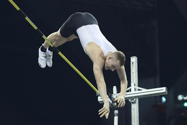 Sam Kendricks taking victory at the ISTAF Indoor in Berlin (Organisers)