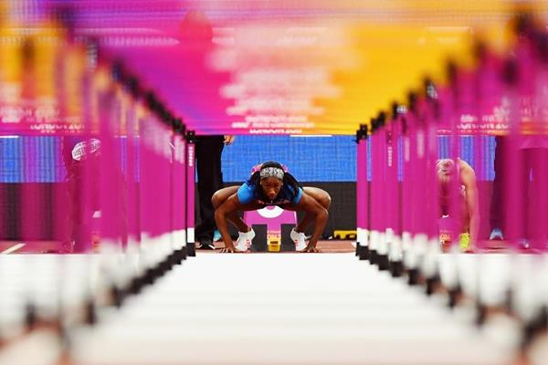 Kendra Harrison in the 100m hurdles semi flnals at the IAAF World Championships London 2017 (Getty Images)