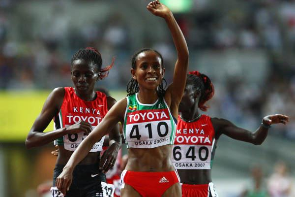 Meseret Defar of Ethiopia celebrates winning gold in the 5000m (Getty Images)