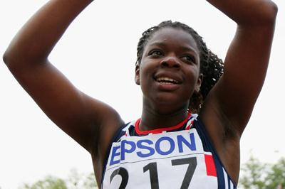Asha Philip of Great Britain celebrates her victory after the 100m final (Getty Images)