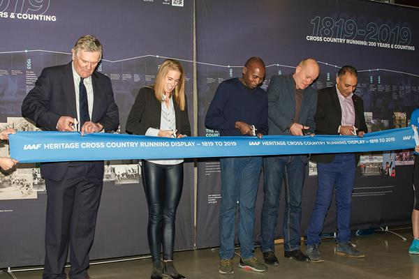 At opening of the IAAF Heritage Cross Country Display – 1819 to 2019 in Aarhus, from left: Robin Brooke-Smith, Sara Slott Petersen, Wilson Kipketer, Jakob Larsen and Culture Mayor Rabih Azad-Ahmad  (LOC)