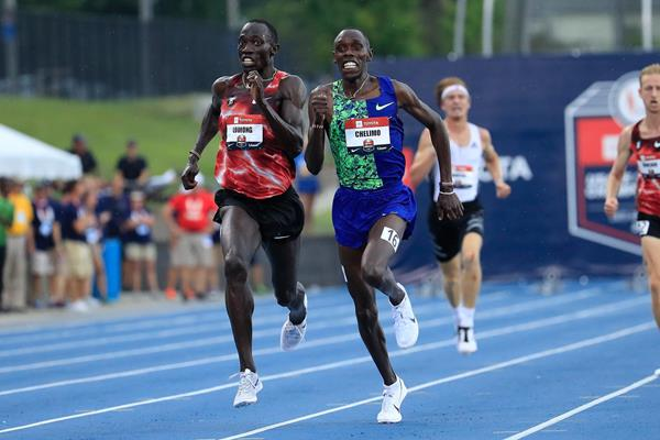 Lopez Lomong overtakes Paul Chelimo to win the US 5000m title (Getty Images)
