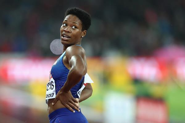 Phyllis Francis of USA after taking gold over 400m at the IAAF World Championships London 2017 (Getty)