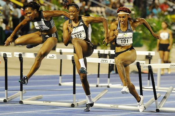 Brianna Rollins (right) winning the 100m hurdles at the 2016 IAAF World Challenge meeting in Kingston (Errol Anderson)