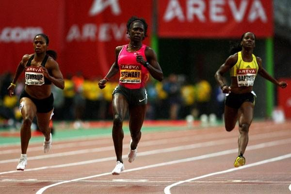 Kerron Stewart wins the women's 100m by a comfortable margin in 10.99 (Getty Images)