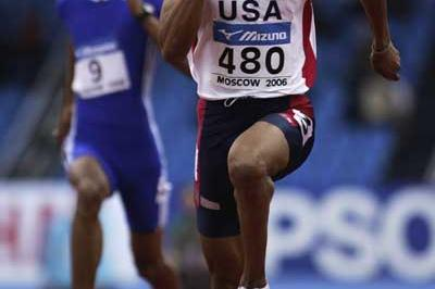 Terrence Trammell of USA in action in the men's 60m first round heats (Getty Images)