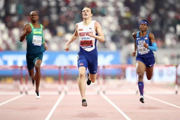 Karsten Warholm en route to his second world 400m hurdles title at the IAAF World Athletics Championships Doha 2019 (Getty Images)