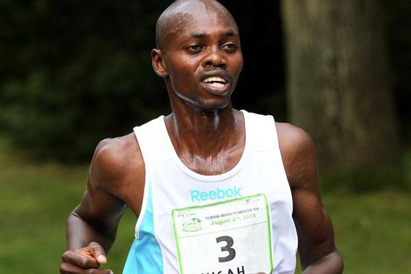 Kenya's Micah Kogo en route to victory in the men's race (Victah Sailer)