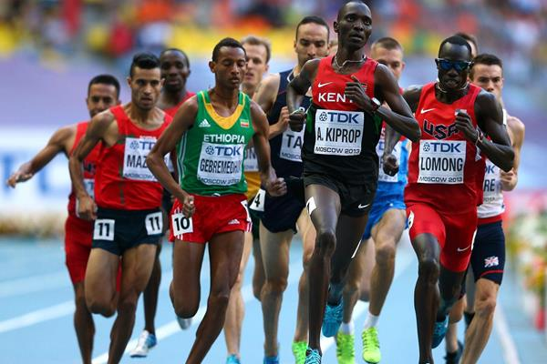 Action shot Asbel Kiprop in the mens 1500m semi-finals at the IAAF World Athletics Championships Moscow 2013 (Getty Images)