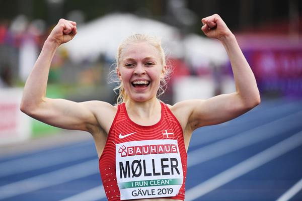 Anna Emilie Moller after winning the 5000m at the European U23 Championships in Gavle (Getty Images)