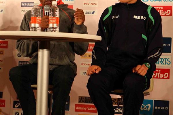 Haile Gebrselassie and Yuki Kawauchi in Tokyo (Jiro Mochizuki)