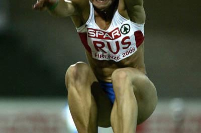 Irina Simagina of Russia wins the women's Long Jump in Florence (Getty Images)