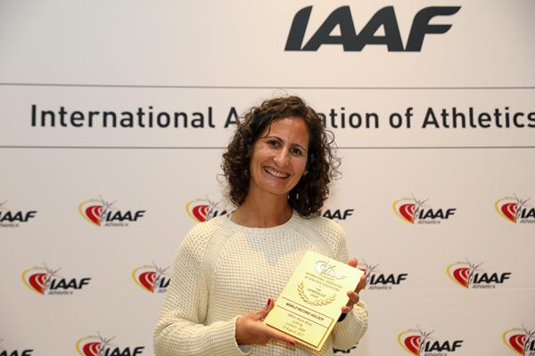 Ines Henriques with her world record plaque in Monaco (Philippe Fitte)