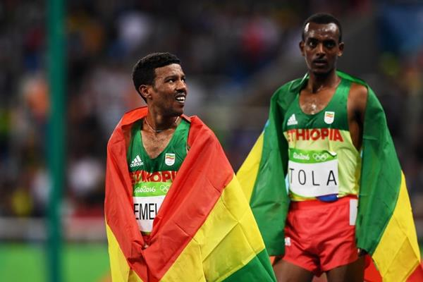 Yigrem Demelash and Tamirat Tola after the 10,000m at the Rio 2016 Olympic Games (Getty Images)