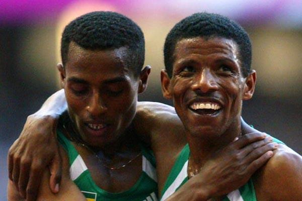 Team mates Kenenisa Bekele and Haile Gebrselassie after the final of the 10,000m (Getty Images)