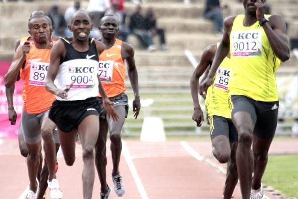 Africa 800m champion David Rudisha (right) beats world champion Alfred Kirwa Yego (9004) at the New KCC National Trials for the 2009 World Championships in Athletics at the Nyayo National Stadium in Nairobi (Elias Makori)