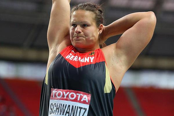 Christina Schwanitz in the shot put at the IAAF World Championships (Getty Images)