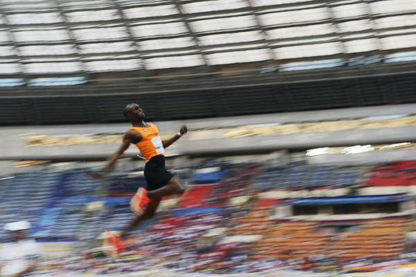 Ignisious Gaisah in the long jump at the IAAF World Championships Moscow 2013 (AFP / Getty Images)
