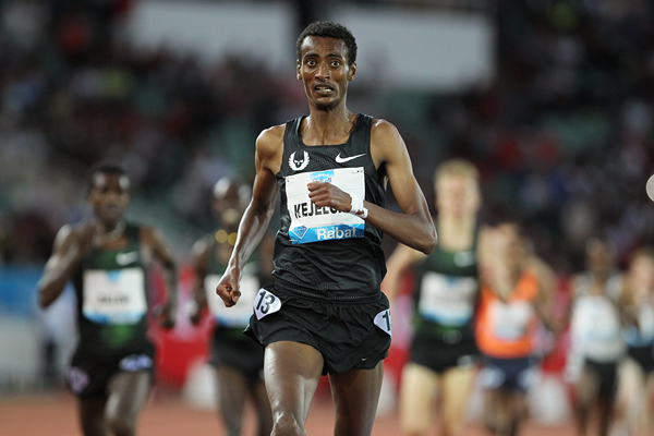 Yomif Kejelcha wins the 3000m at the IAAF Diamond League meeting in Rabat (Jean-Pierre Durand)