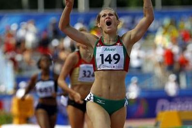 Katsiaryna Artsiukh of Belarus celebrates winning the women's 400m Hurdles in Moncton (Getty Images)