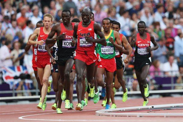 Lopez Lomong of the United States leads the pack in the Men's 5000m Final of the London 2012 Olympic Games at Olympic Stadium on August 11, 2012 (Getty Images)