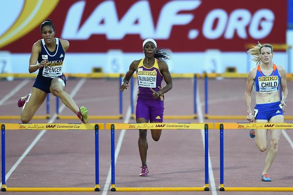 Kaliese Spencer wins the 400m hurdles at the IAAF Continental Cup, Marrakech 2014 (Getty Images)