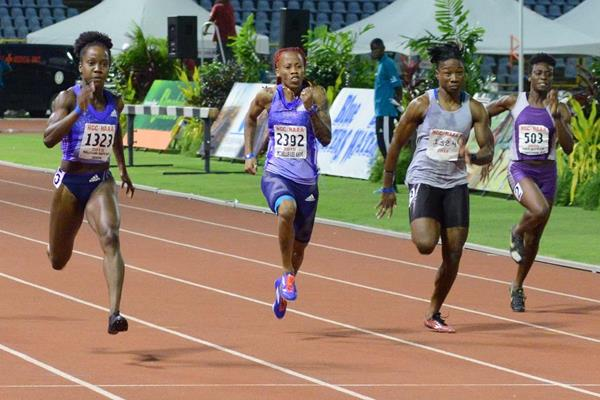 Kelly-Ann Baptiste (far left) at the 2015 Trinidad and Tobago Open Track and Field Championship  (Ishmael Salandy/Trinidad Express)