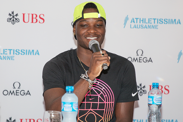 Omar McLeod at the press conference for the IAAF Diamond League meeting in Lausanne (Daniel Mitchell)
