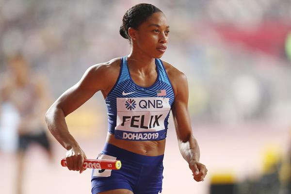 Allyson Felix in the mixed 4x400m at the IAAF World Athletics Championships Doha 2019 (Getty Images)