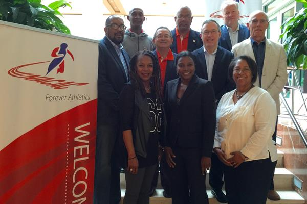NACAC AA Executive Council at its February 2016 meeting, with IAAF Interim CEO/General Secretary Jean Gracia (centre) (NACAC)