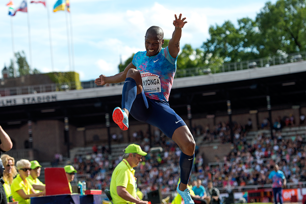 Long jump winner Luvo Manyonga at the IAAF Diamond League meeting in Stockholm (Hasse Sjogren)