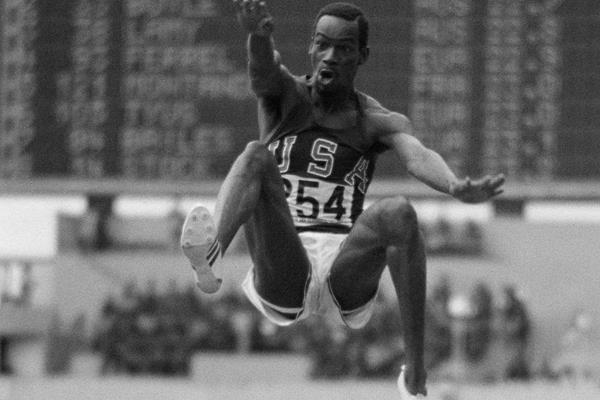 Tony Duffy's iconic photograph of Bob Beamon's world record leap in Mexico City (Getty Images)