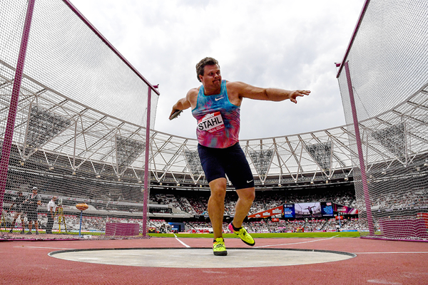 Discus winner Daniel Stahl at the IAAF Diamond League meeting in Oslo (Kirby Lee)