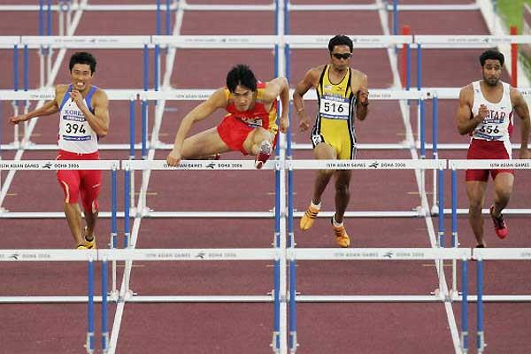 Liu Xiang storms to his 13.15 second win at the Asian Games (Getty Images)
