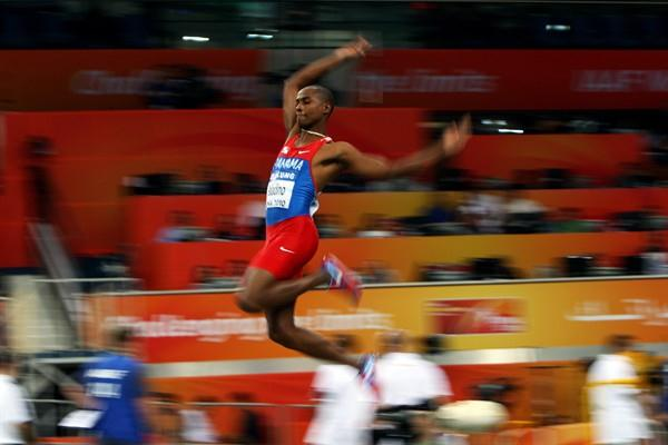 Olympic champion Irving Saladino of Panama competes in the mens long jump qualification (Getty Images)