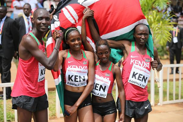Kenya's victorious mixed relay squad: Asbel Kiprop, Beatrice Chepkoech, Winnie Mbithe and Bernard Koros (Roger Sedres)
