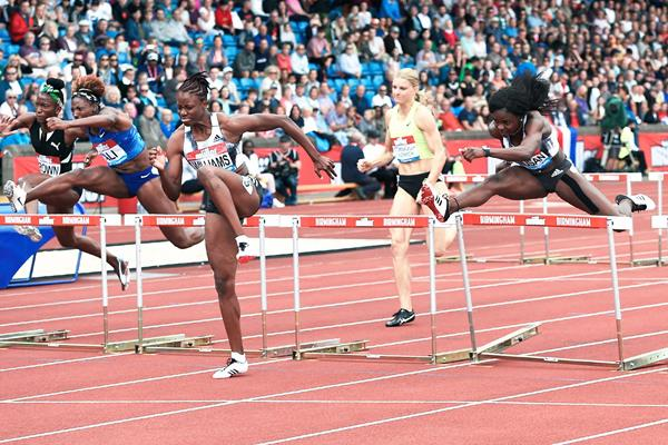 Danielle Williams on her way to winning the 100m hurdles at the IAAF Diamond League meeting in Birmingham (Mark Shearman)